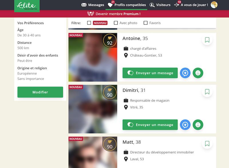 Les profils compatibles sur Elite Rencontre